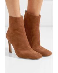 Stuart Weitzman - Brown Aster Suede Ankle Boots - Lyst