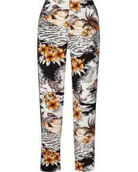 Maje | Black Washed Silk-trimmed Printed Crepe Wide-leg Pants | Lyst
