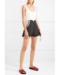 Paper London - Black Scalloped Rickrack-trimmed Cotton Shorts - Lyst