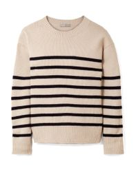 Vince - Natural Tie-detailed Striped Cashmere Sweater - Lyst