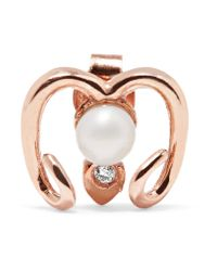 Aamaya By Priyanka - Multicolor Aries Rose Gold-plated, Faux Pearl And Cubic Zirconia Earring - Lyst