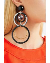 Marni - Black Gold And Silver-tone, Resin And Crystal Clip Earrings - Lyst