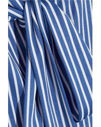 Balenciaga - Blue Lavalliere Pussy-bow Striped Stretch-jersey Shirt - Lyst