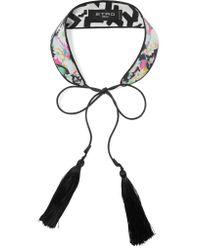 Etro | Black Tasseled Printed Silk Choker | Lyst