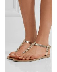 Ancient Greek Sandals - Multicolor Lito Faux Pearl-embellished Metallic Leather Sandals - Lyst