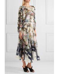 Preen By Thornton Bregazzi - Blue Jenna Floral-print Devoré Silk-blend Chiffon Midi Dress - Lyst