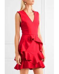 Rebecca Vallance - Woman Ruffled Cutout Stretch-crepe Mini Dress Red - Lyst