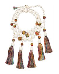 Rosantica | White Arlecchino Convertible Tasseled Beaded Gold-tone Necklace | Lyst