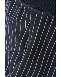 Theory - Blue Jersey-trimmed Pinstriped Silk Crepe De Chine Track Pants - Lyst