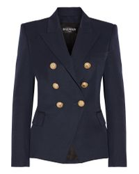 Balmain | Blue Double-Breasted Wool Jacket | Lyst