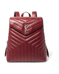 Saint Laurent - Red Loulou Quilted Leather Backpack - Lyst