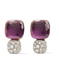 Pomellato - Multicolor Nudo Solitaire 18-karat Rose Gold, Amethyst And Diamond Earrings - Lyst