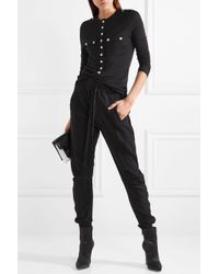 Balmain - Black Button-detailed Wool And Cashmere-blend Top - Lyst