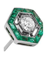 Fred Leighton - Green Collection 18-karat White Gold, Emerald And Diamond Earrings - Lyst