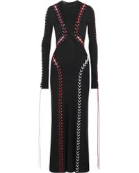 Alexander McQueen | Black Laced Long-sleeve Knit Gown | Lyst