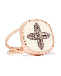 Pascale Monvoisin - Metallic Bowie N°2 9-karat Rose Gold, Sterling Silver, Diamond And Bakelite Ring - Lyst
