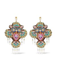 Gucci - Blue Beaded Gold-tone, Crystal And Faux Pearl Clip Earrings - Lyst