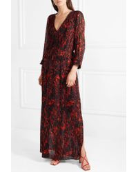By Malene Birger - Black Midotter Pleated Printed Chiffon Maxi Dress - Lyst