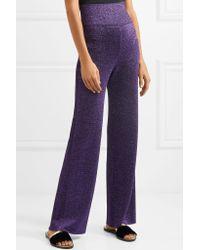 Missoni - Metallic Stretch-knit Wide-leg Pants Dark Purple - Lyst