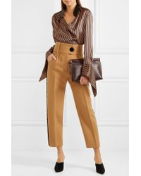 Petar Petrov - Brown Leather-trimmed Asymmetric Striped Silk-satin Blouse - Lyst