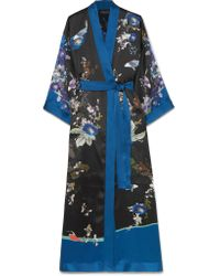 Meng - Black Printed Silk-satin Robe - Lyst
