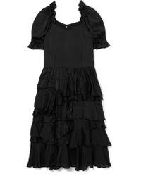 Comme des Garçons - Black Ruffled Habotai Midi Dress - Lyst