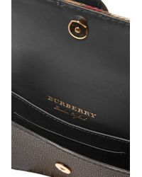 Burberry - Black Canvas-trimmed Patent And Textured-leather Shoulder Bag - Lyst