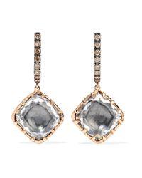 Larkspur & Hawk - Metallic Caprice Cushion 14-karat Rose Gold, Diamond And Quartz Earrings - Lyst