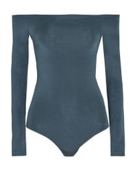 Wolford | Blue Sheen Light Off-the-shoulder Stretch-knit Bodysuit | Lyst