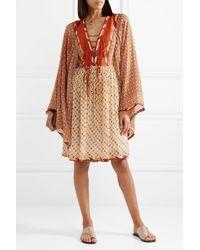 Talitha - Orange Jasmin Lace-up Printed Chiffon Dress - Lyst