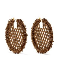 Oscar de la Renta | Metallic Beaded Earrings | Lyst
