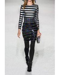 Balmain - Black Striped Iridescent Cotton-jersey Bodysuit - Lyst