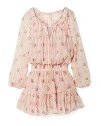 LoveShackFancy - Pink Popover Ruffled Metallic Floral-print Silk-blend Crepon Mini Dress - Lyst