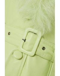 Saks Potts - Green Foxy Leather Coat W/ Fur Trim - Lyst