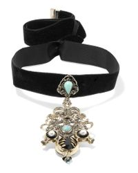 Etro - Black Velvet And Gold-tone Multi-stone Choker - Lyst