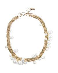 Lanvin - Metallic Gold-tone Faux Pearl Necklace - Lyst
