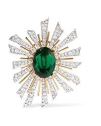 Kenneth Jay Lane - Green Gold And Rhodium-plated Crystal Brooch - Lyst