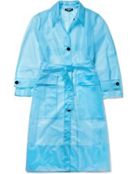 CALVIN KLEIN 205W39NYC - Blue Oversized Matte-pu Trench Coat - Lyst