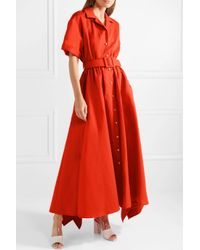 Rosie Assoulin - Red Waiting For Godet Belted Cotton And Ramie-blend Poplin Maxi Dress - Lyst