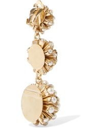 Rosantica - Metallic Futura Gold-tone Faux Pearl Clip Earrings - Lyst