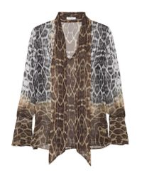 Equipment - Brown Jacqueleen Pussy-bow Leopard-print Silk-georgette Blouse - Lyst