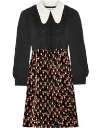 Chloé - Black Embroidered Cady And Printed Velvet Mini Dress - Lyst