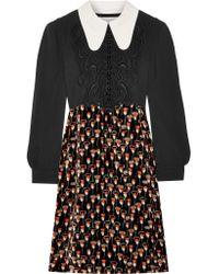 Chloé | Black Embroidered Cady And Printed Velvet Mini Dress | Lyst