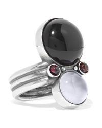 Bottega Veneta - Metallic Silver, Onyx And Chalcedony Ring - Lyst