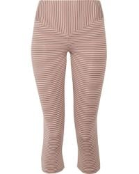 Olympia - Brown Mateo Cropped Striped Stretch-jersey Leggings - Lyst