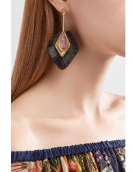 Katerina Makriyianni | Metallic Fringed Gold Vermeil Crystal Earrings | Lyst