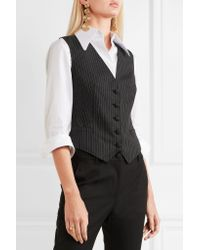 Dolce & Gabbana Gray Pinstriped Wool-blend And Leopard-print Satin Vest