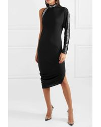Versace - Black One-sleeve Intarsia Jersey Midi Dress - Lyst
