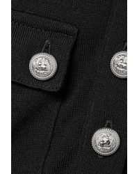 Balmain - Black Button-embellished Wool And Cashmere-blend Top - Lyst