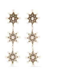 Gucci - Metallic Gold-tone Faux Pearl And Crystal Earrings - Lyst
